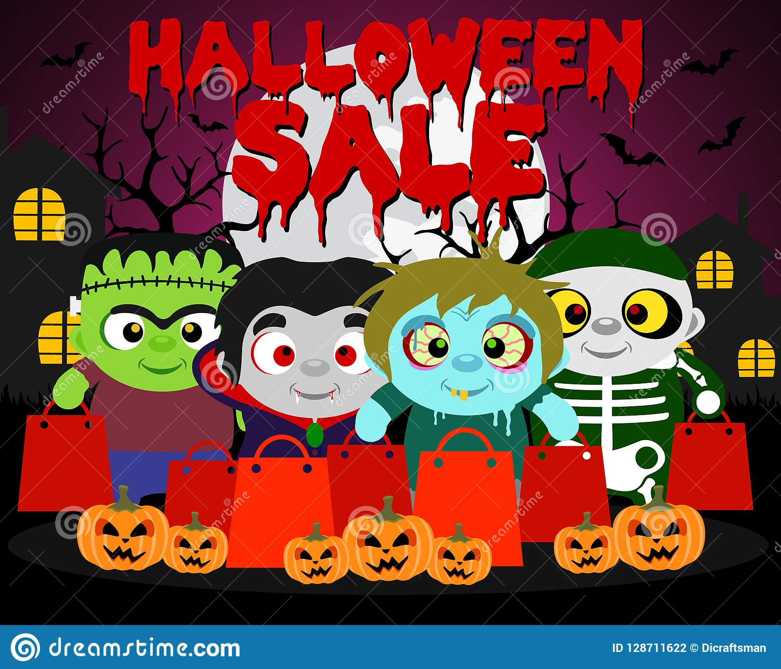 Halloween Sale Background With Funny Kids In Halloween Costume Stock