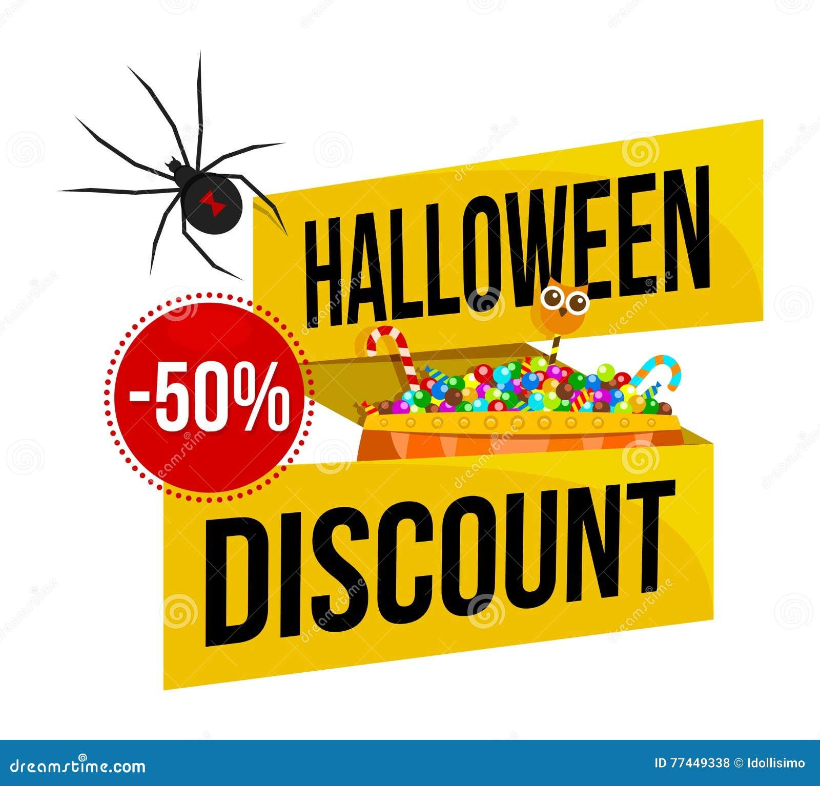 Halloween sale logo or label stock vector illustration for Cheap logo