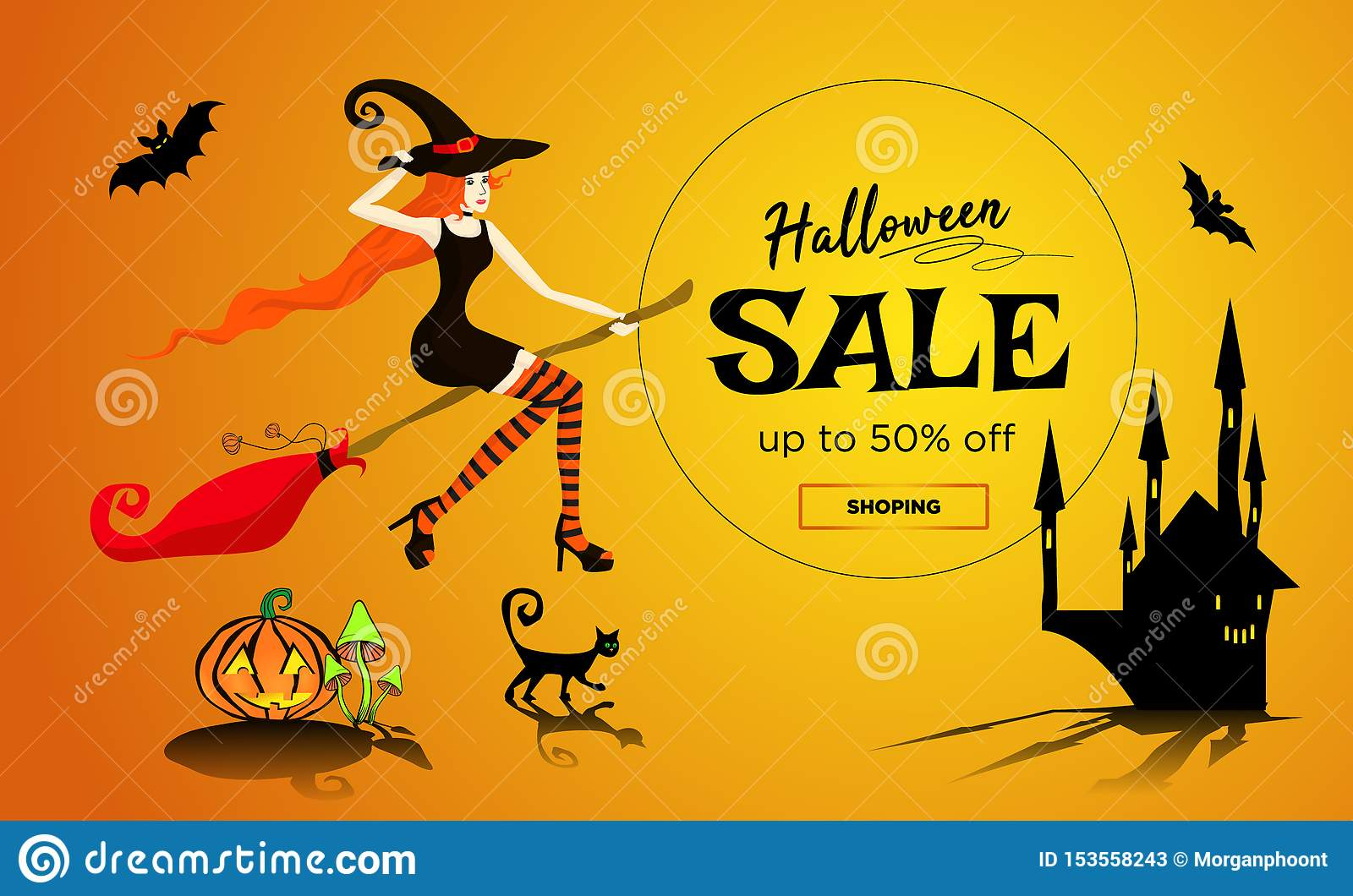 Halloween sale promotion poster, banner with a beautiful redhair witch flying on a broomstick, a black cat and dark castle