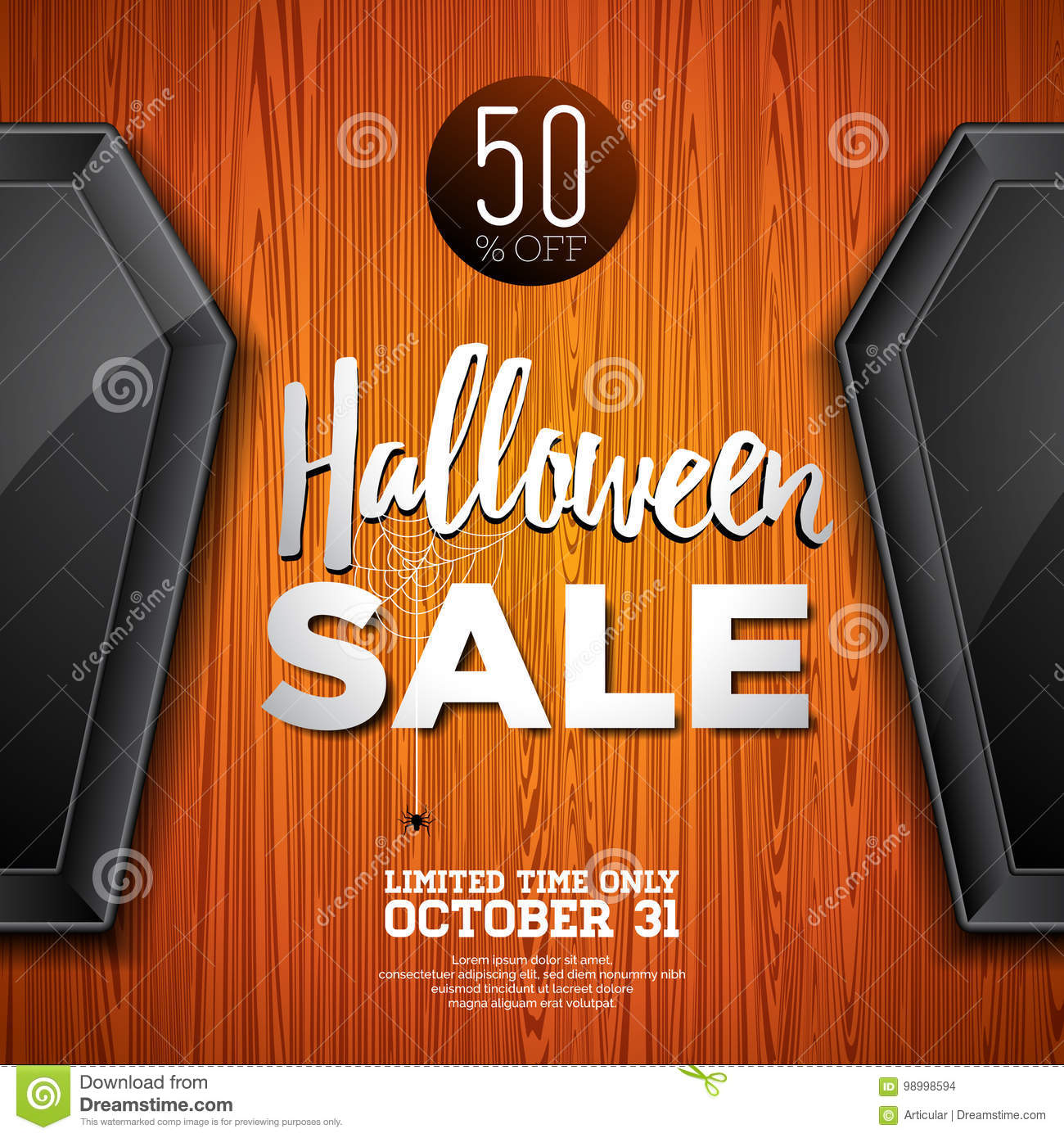 download halloween sale vector illustration with coffin and holiday elements on wood texture background design