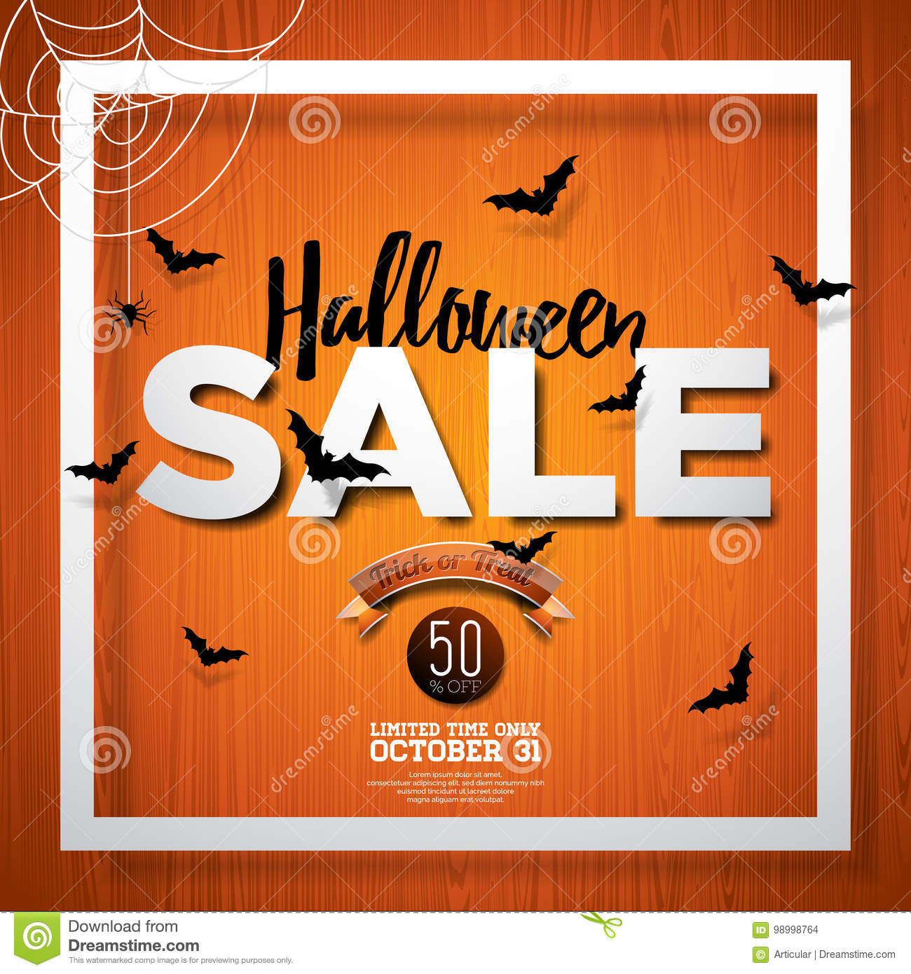 halloween sale vector poster template illustration with moon and