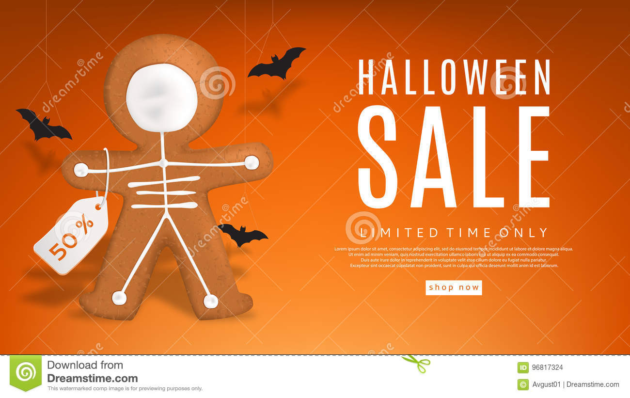 download halloween sale web banner with cookies stock vector illustration of holiday gingerbread