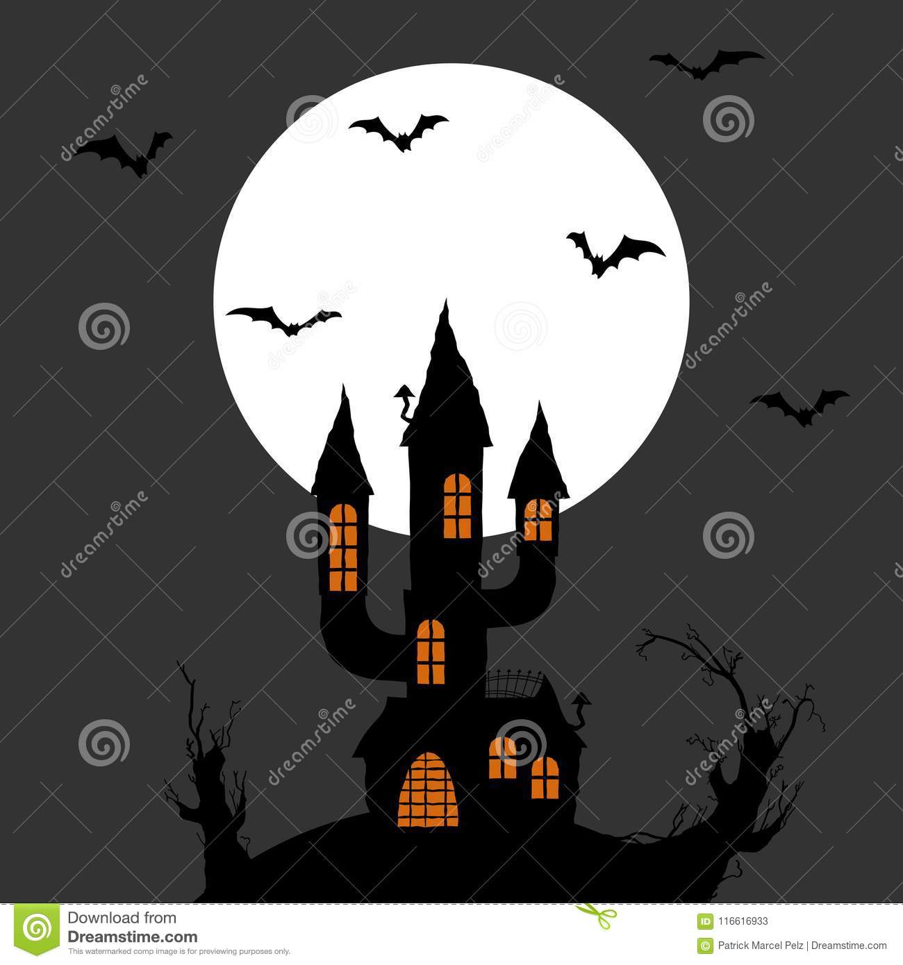 Bat Layouts | Halloween Scary Castle Background Stock Vector Illustration Of
