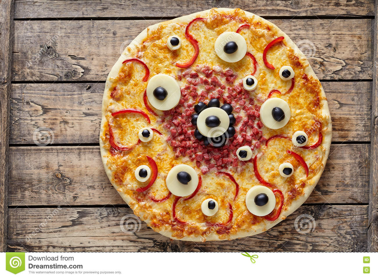 Halloween Scary Food Monster Pizza With Eyes On Vintage Wooden ...