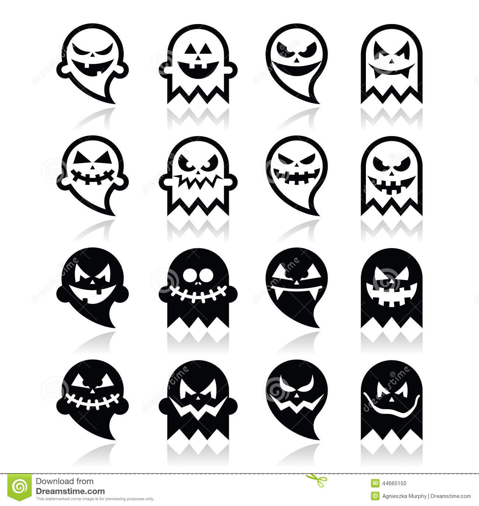Halloween Scary Ghost Black Icons Set Stock Illustration Image 44665150