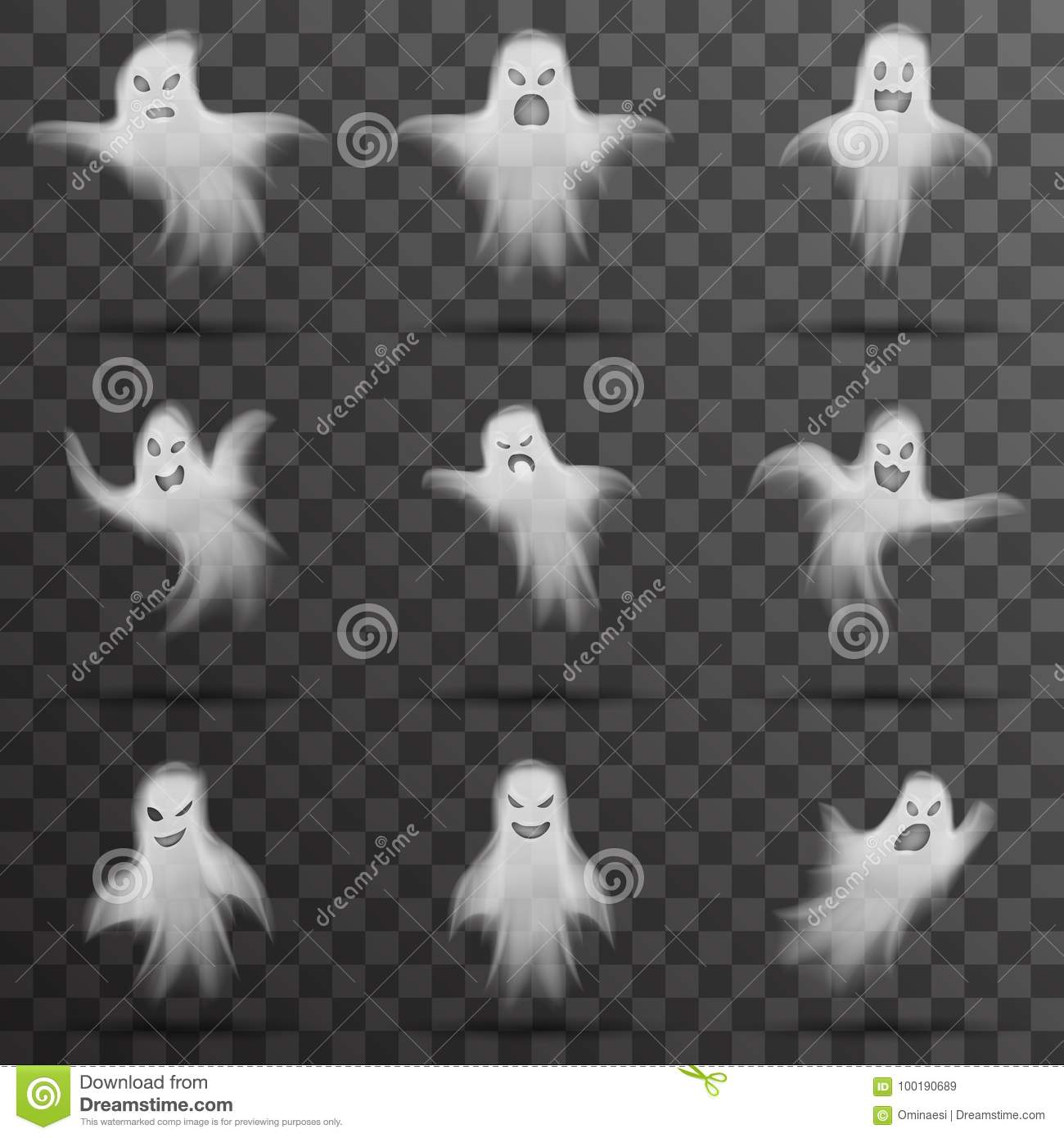 halloween white scary ghost isolated template transparent night