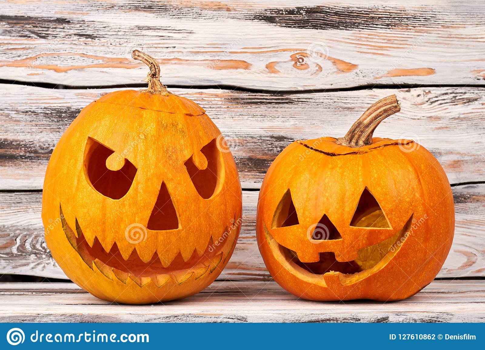Halloween Scary Pumpkins On Wooden Background Stock Photo Image