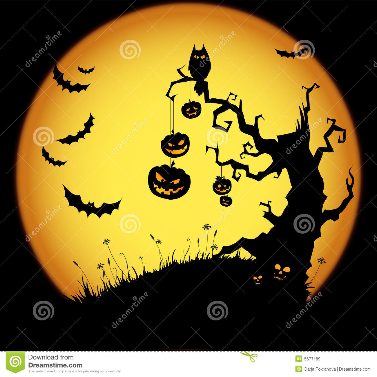 halloween scene stock vector illustration of evil glow 5677189