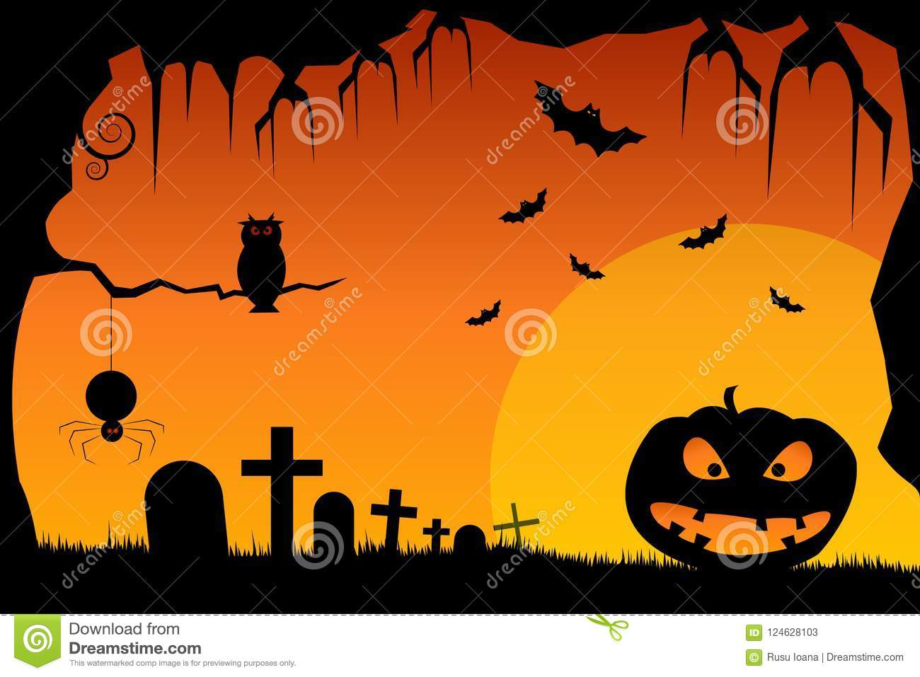 halloween scene illustration of a grunge halloween frame with