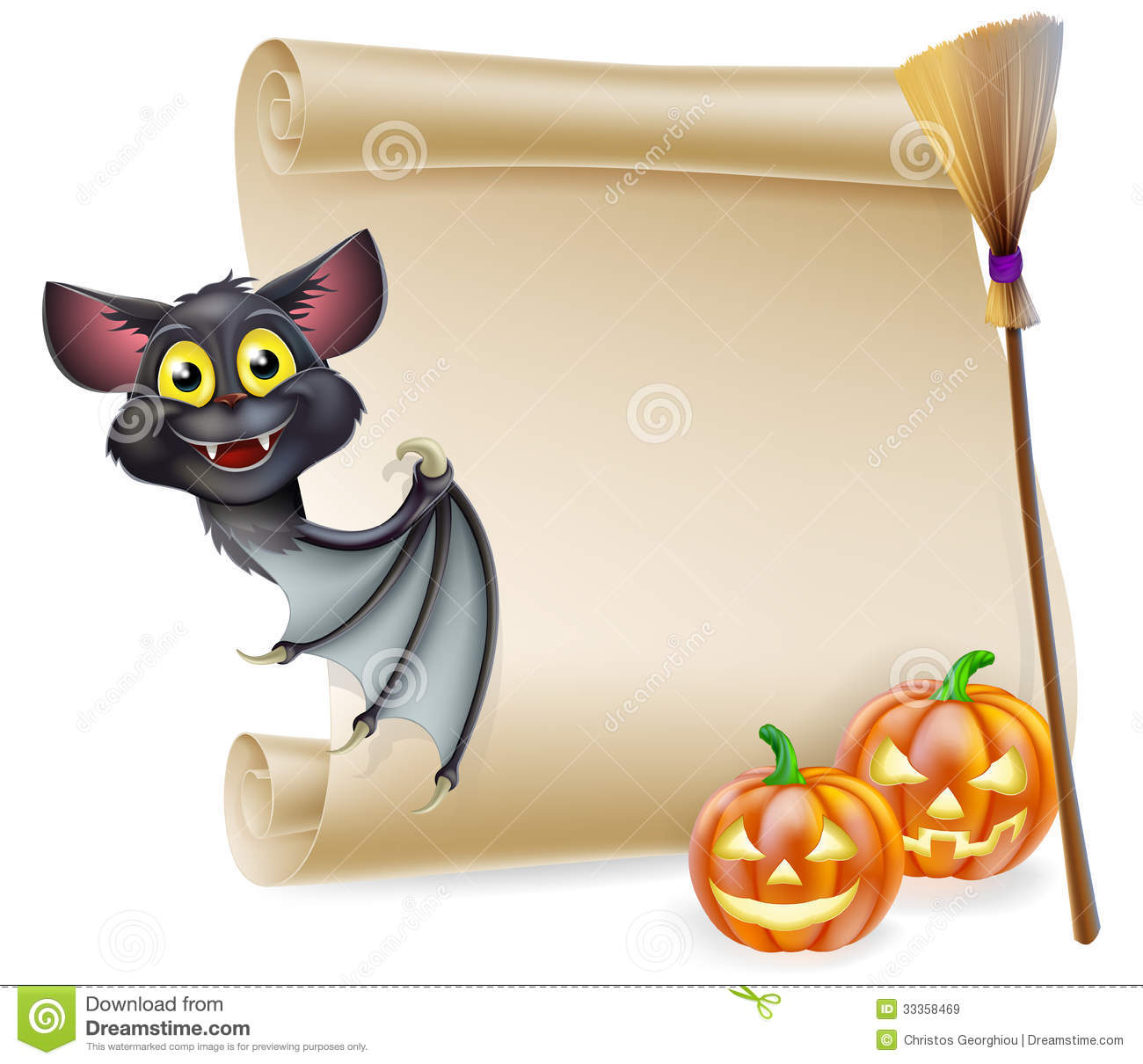 An illustration of a halloween scroll with space for your message and