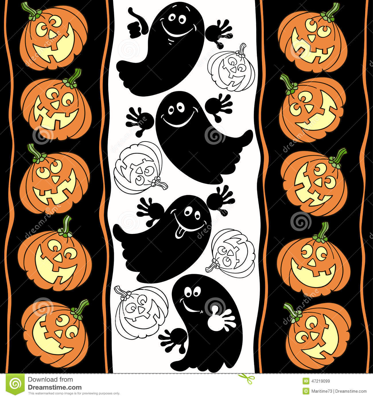 Halloween Seamless Background With Ghosts And Pumpkins