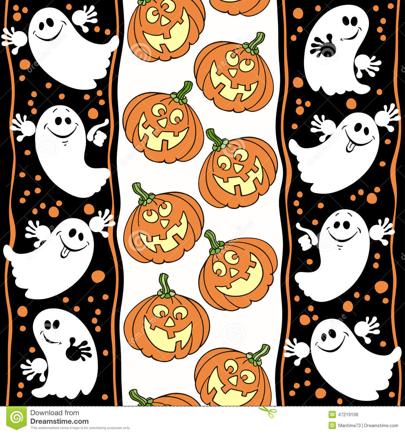 halloween seamless background with ghosts and pumpkins  stock illustration