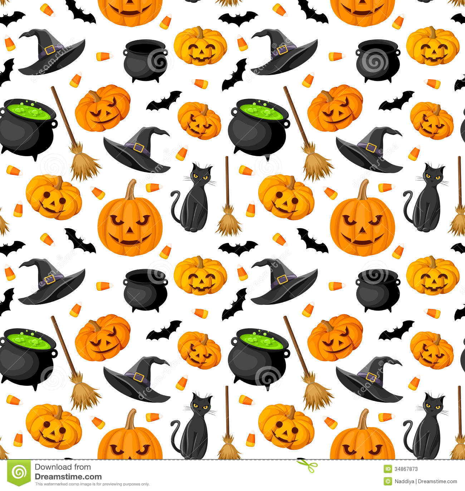 Halloween Seamless Background. Stock Vector