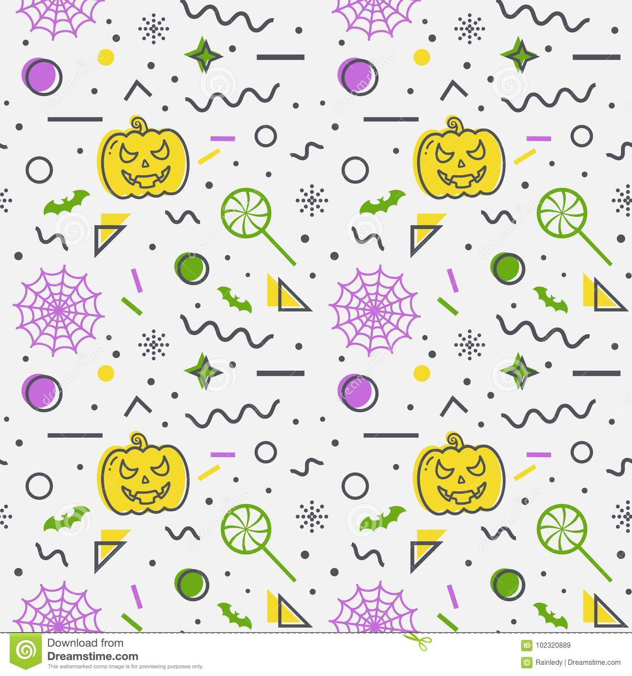 download halloween seamless background memphis pattern stock vector illustration of jack pumpkin