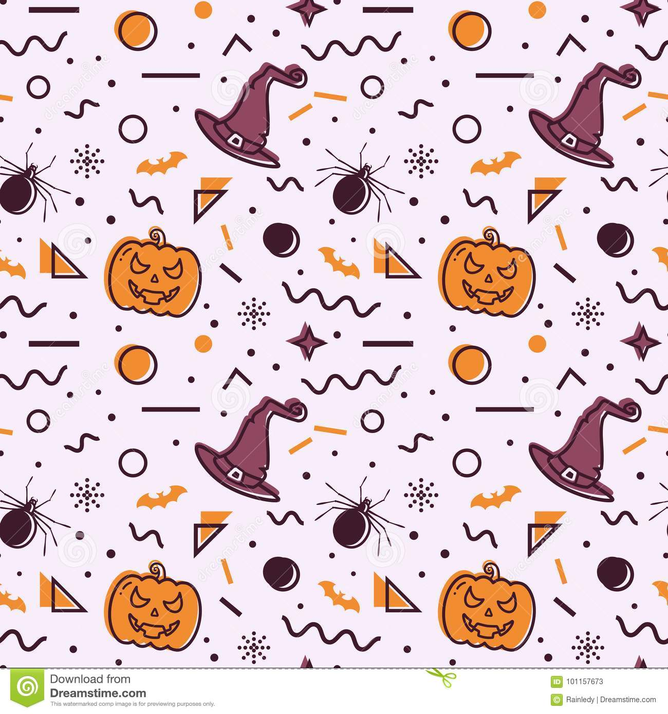 download halloween seamless background memphis pattern stock vector illustration of orange abstract
