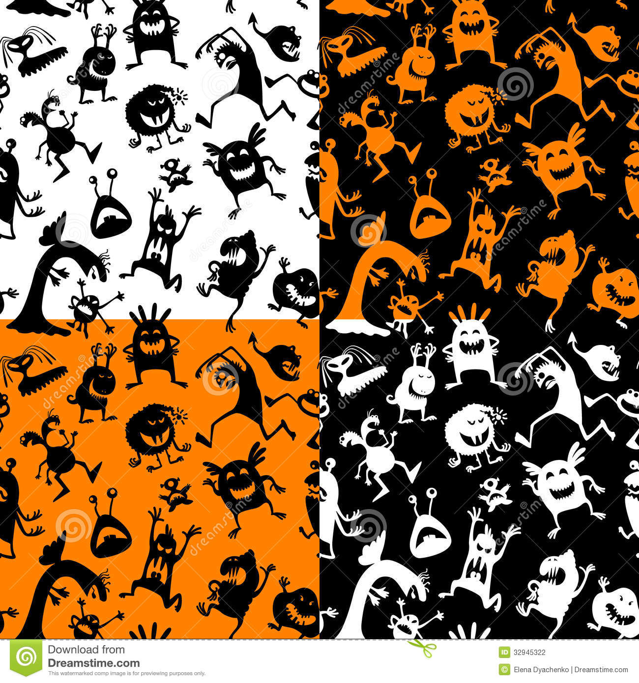 Halloween seamless stock vector. Image of bizarre, group ...