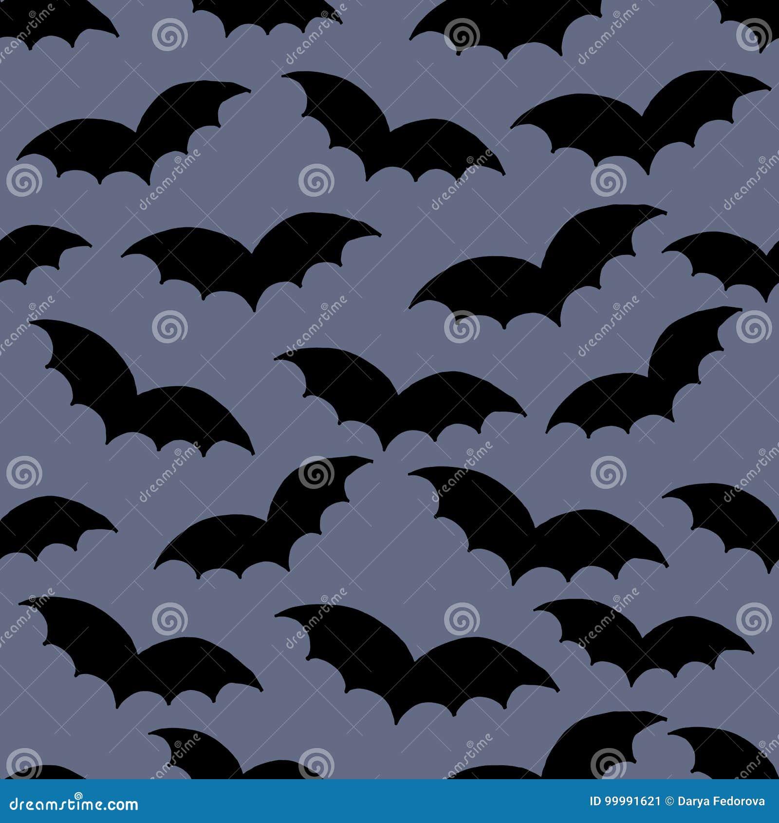 Halloween Seamless Doodle Hand Drawn Pattern Swarm Of Black Bat