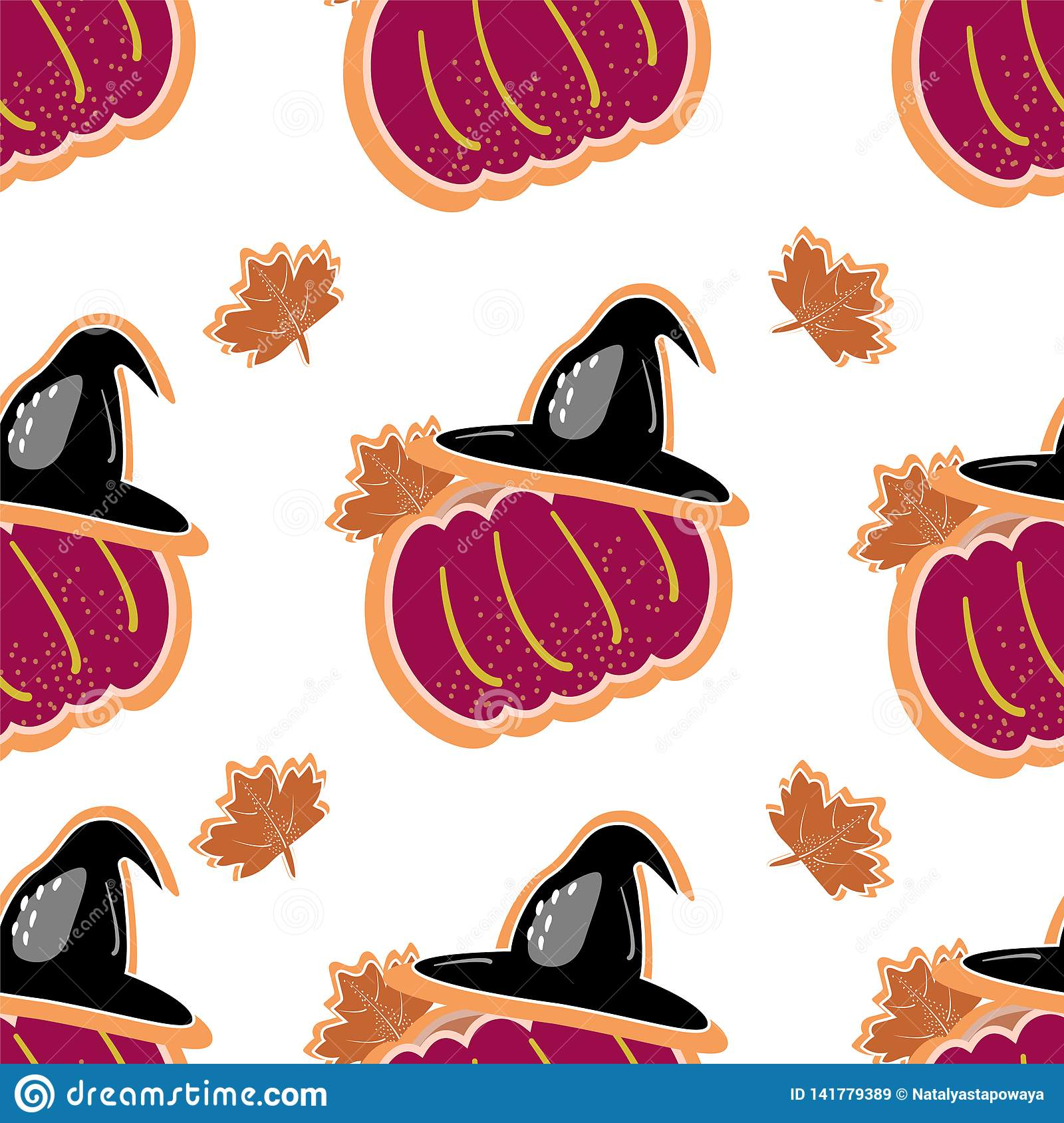 Halloween Seamless Pattern Background With Pumpkin, Bat