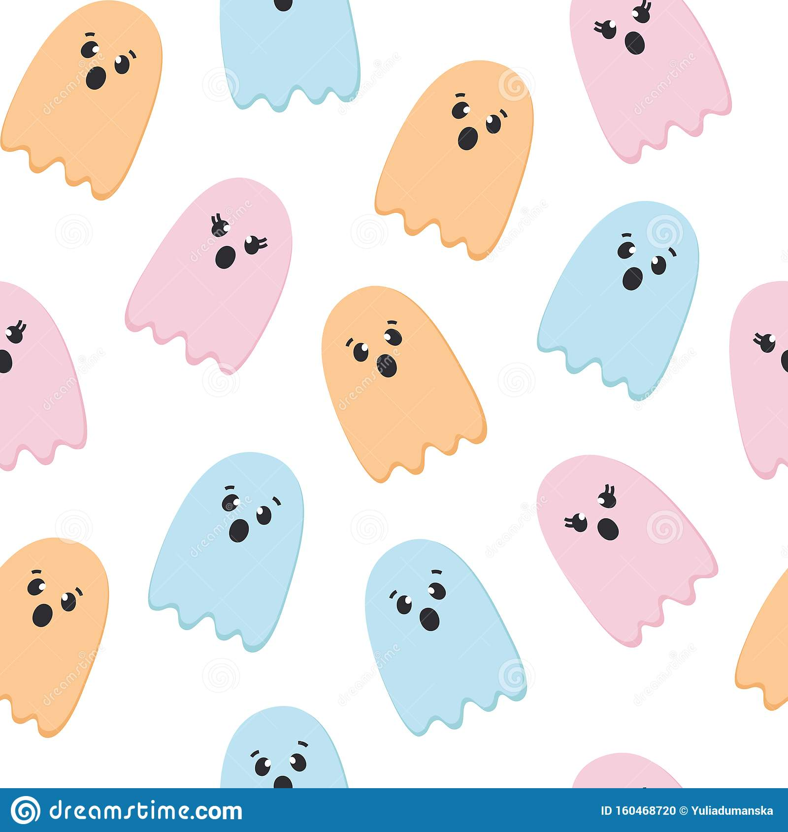 Halloween Seamless Pattern Of Flying Ghosts Cute Nursery Room Wallpaper Kids Background Card Pastel Colors Scared Stock Vector Illustration Of Ghostly Smile 160468720