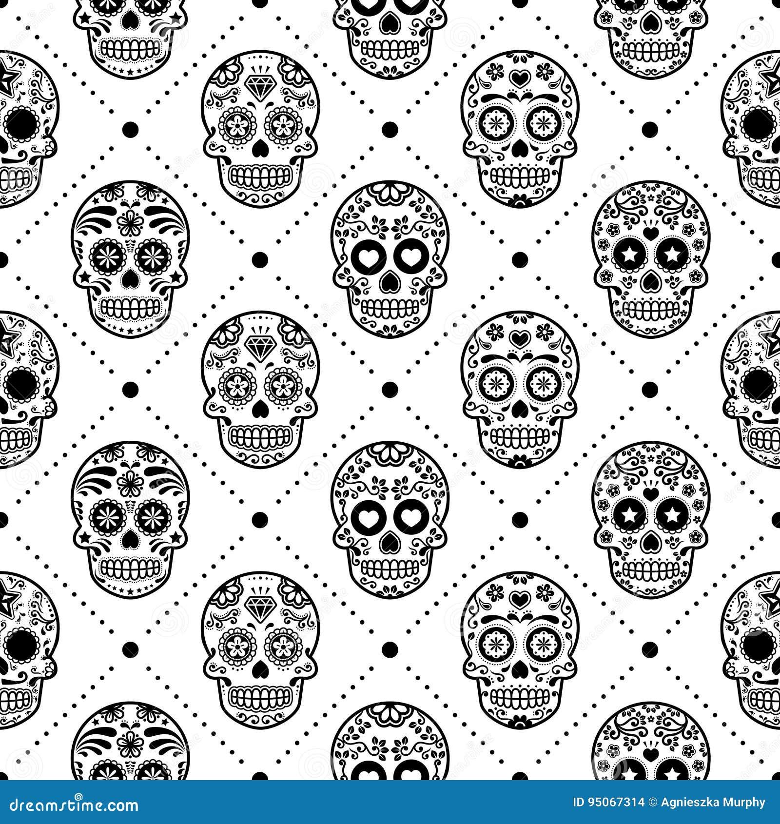 56f6c2d3294 Halloween Seamless Pattern, Mexican Sugar Skull Vector Design, Dia ...