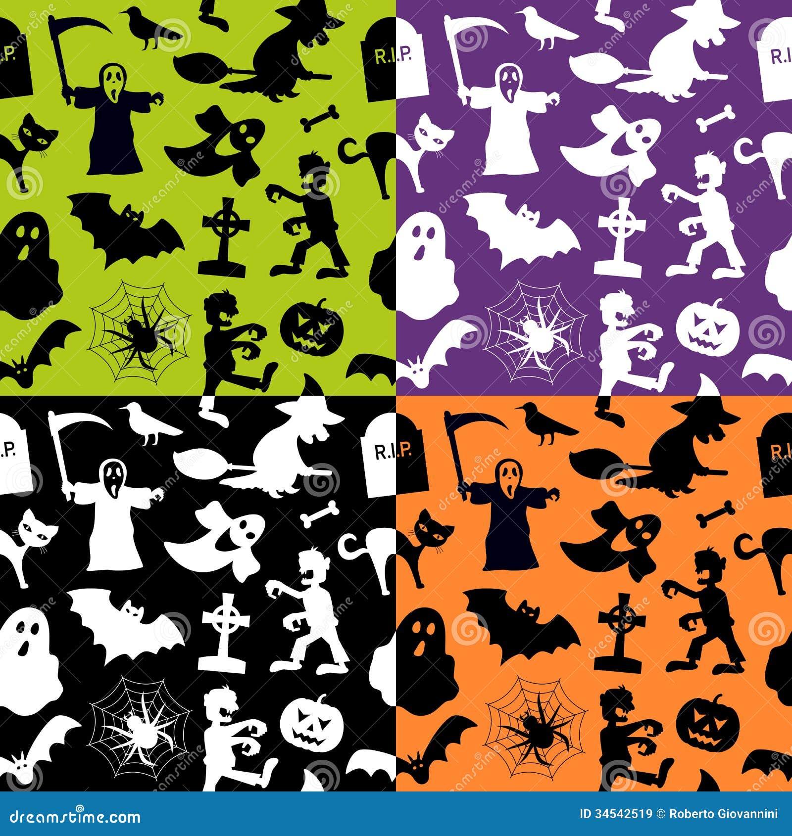 halloween seamless patterns stock vector