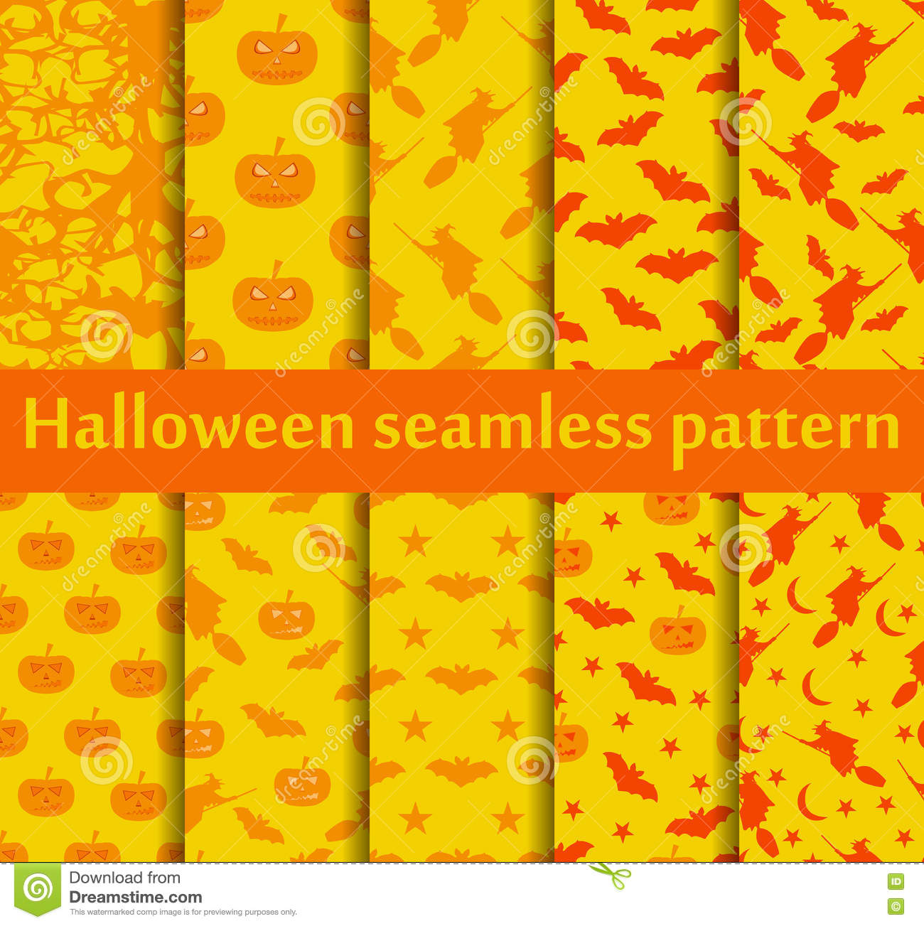 Halloween seamless patterns set. Pattern with Lamp Jack, Bats and witch. Halloween symbols. Vector