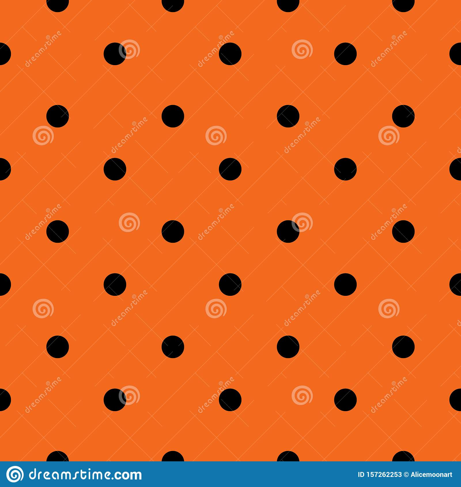 Halloween Seamless Polka Dot Pattern In Orange And Black Color