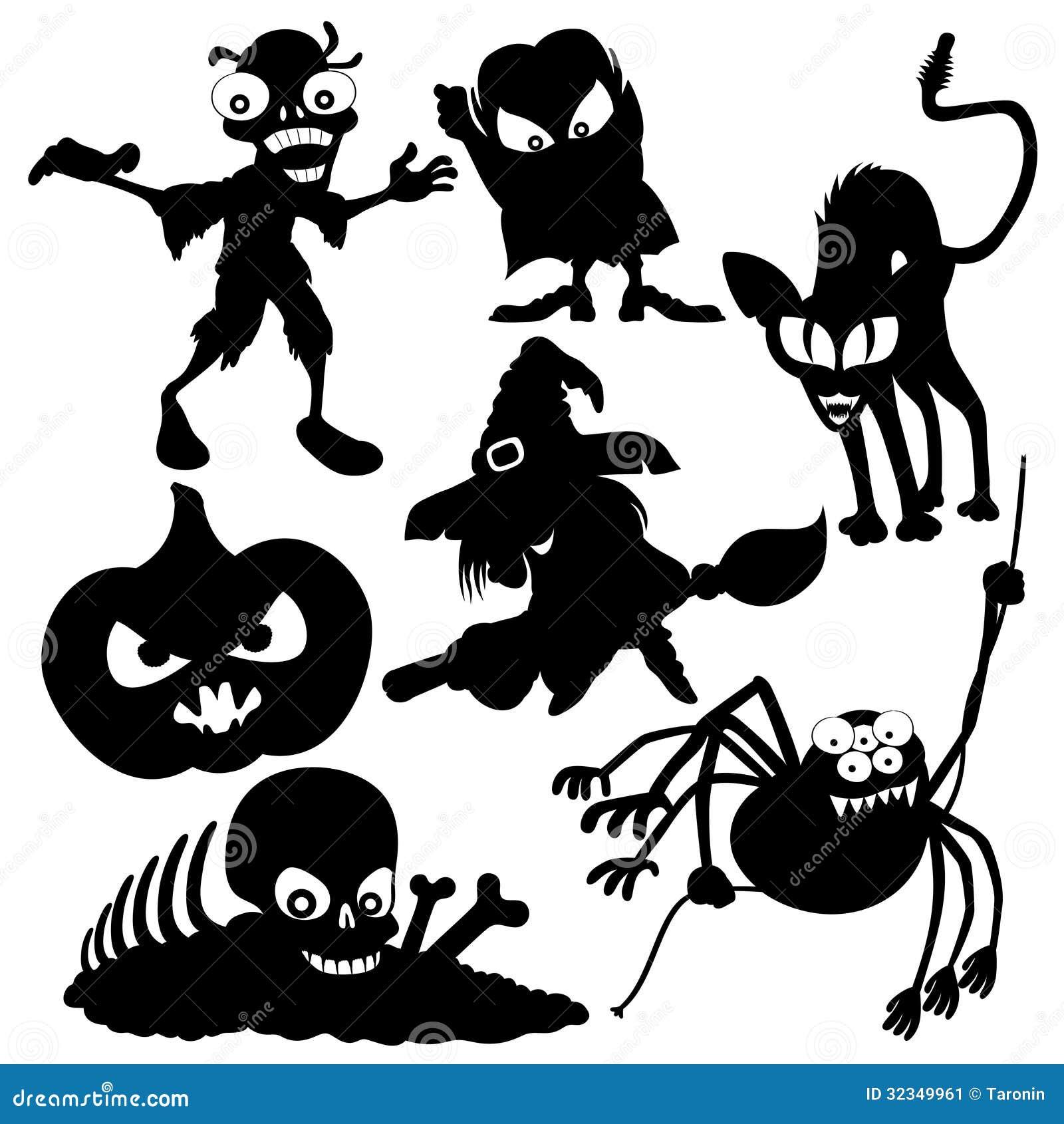 Halloween Skull Silhouette Halloween set  silhouettes onHalloween Skull Silhouette