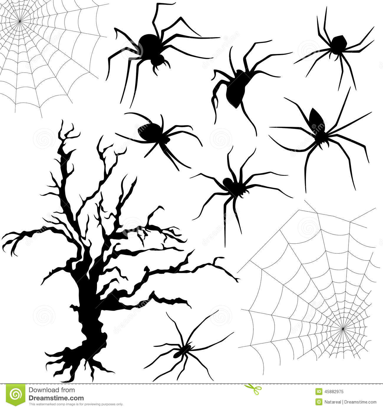 Halloween Set Of Spiders, Nettings And Dried Tree Stock