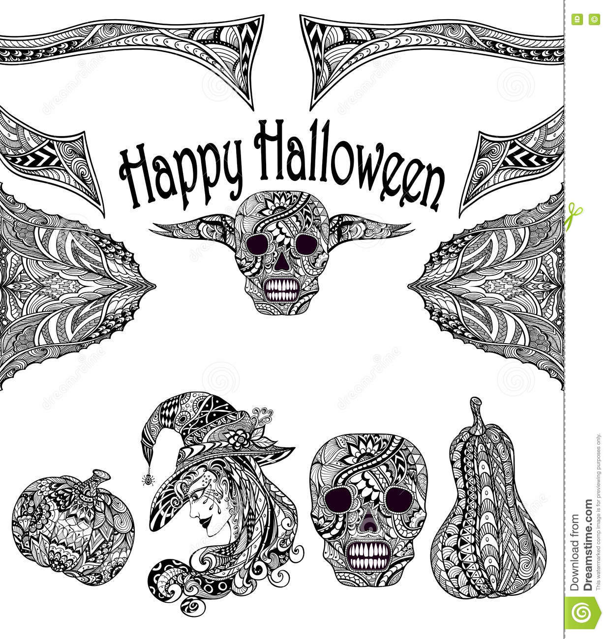 Halloween Set With Witch Skill Pumpkins Black White Stock Vector