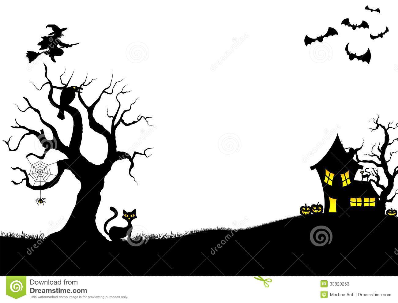 Halloween Silhouette Background Stock Vector - Image: 33829253