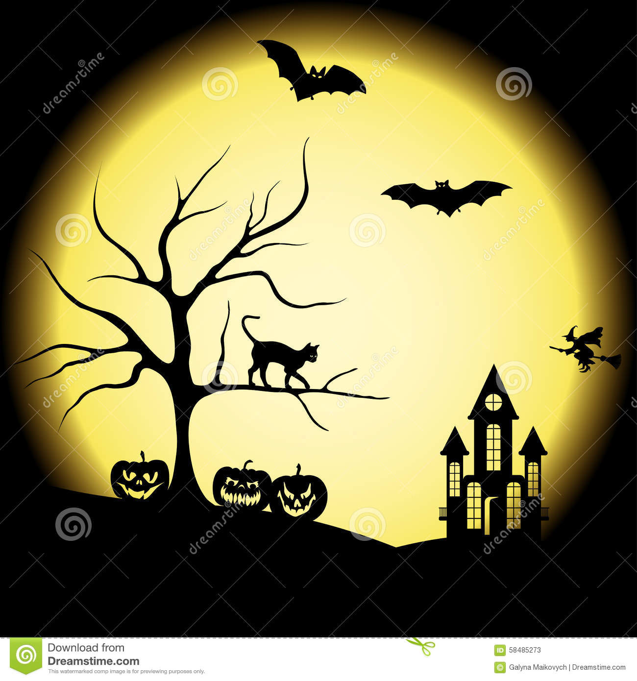 halloween silhouettes and full moon stock vector illustration of