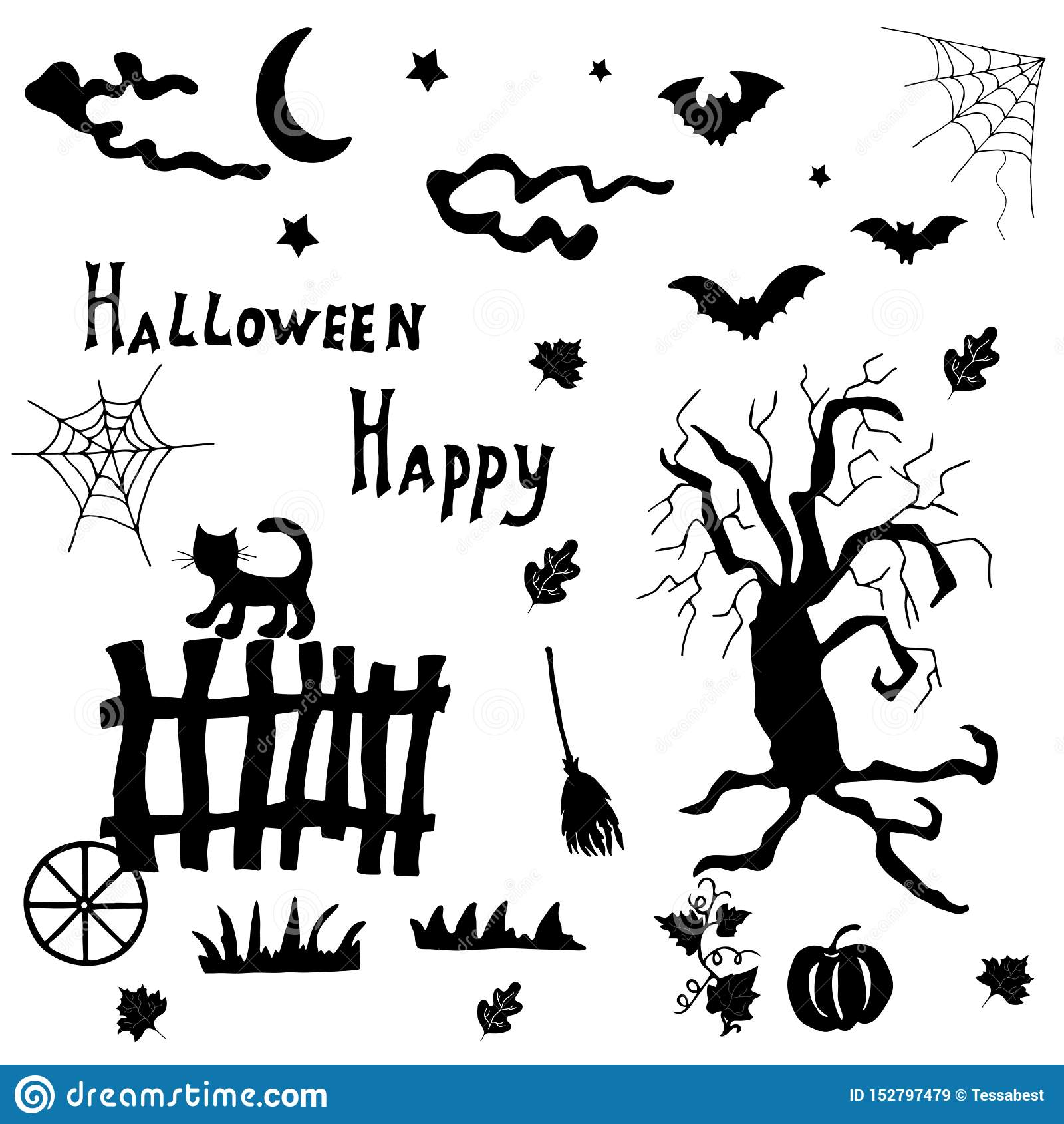 Halloween Silhouettes For Design Decoration Stock Vector