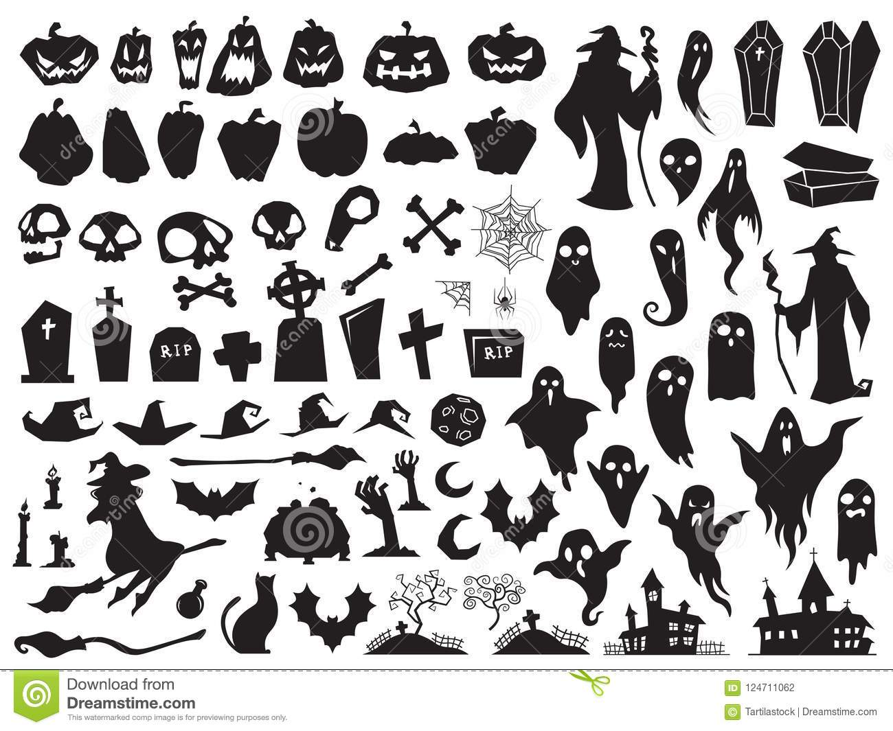 Halloween silhouettes. Spooky evil witch, creepy grave coffin and wizard silhouette. Pumpkin, spider and ghost vector