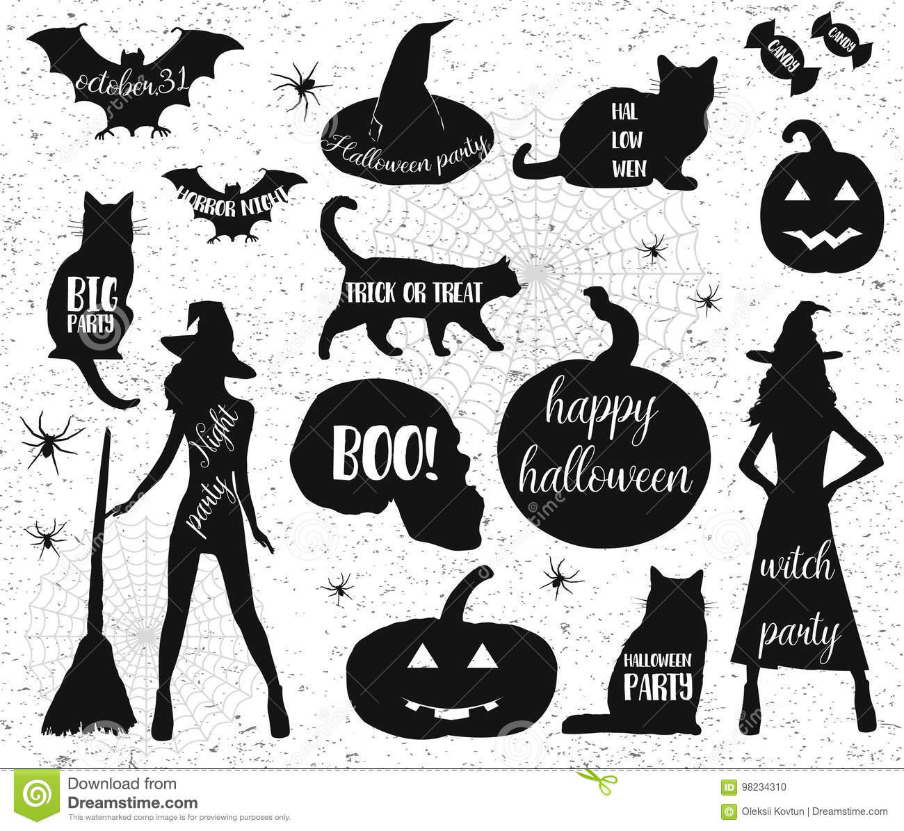 Halloween Trick Or Treat Silhouette.Halloween Silhouettes Witch Pumpkin Black Cat Halloween