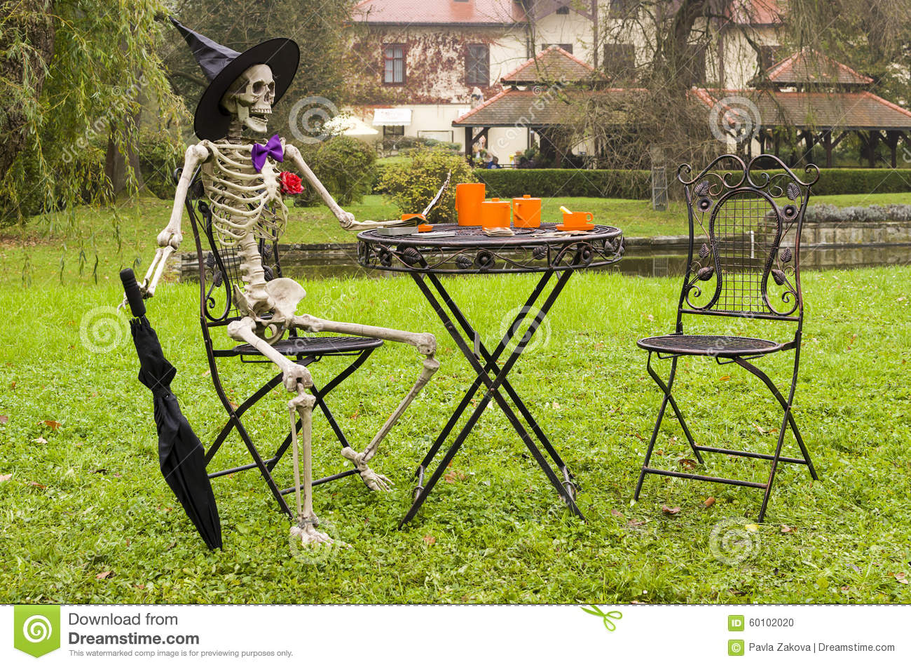 Halloween Skeleton Decoration In Garden Stock Photo - Image of ...