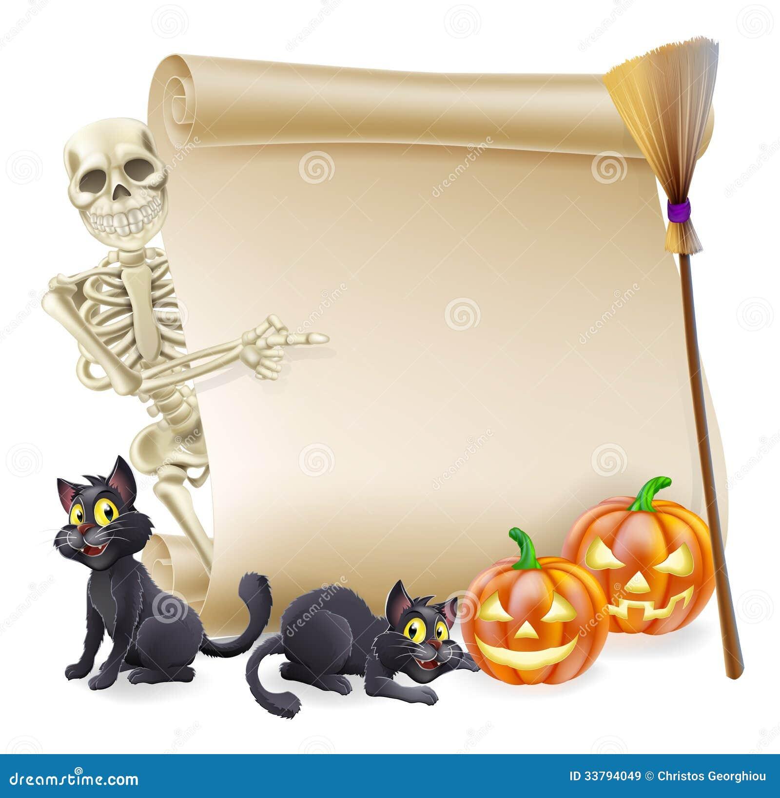 halloween skeleton scroll banner royalty free stock images