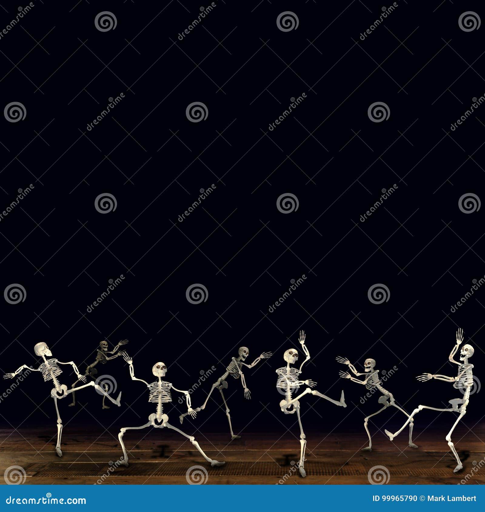 Halloween skeletons. Black background.