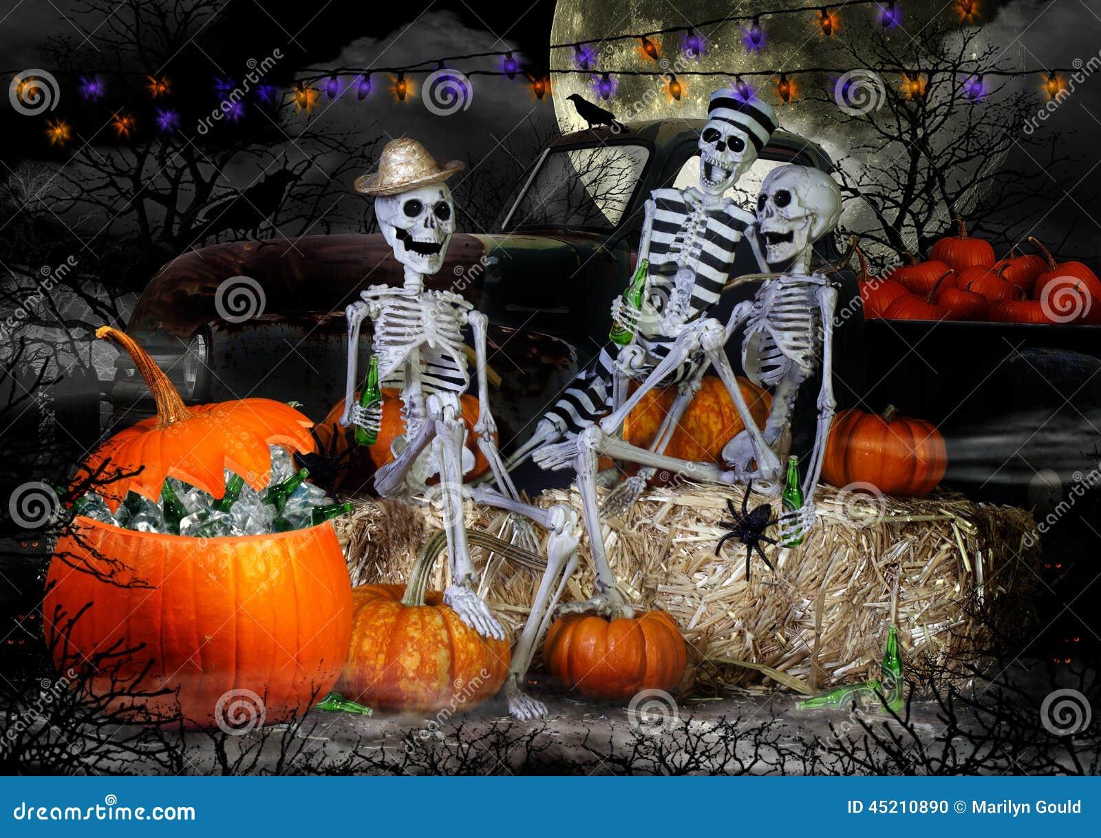 Halloween Bier.Halloween Skelettenpartij Stock Foto Afbeelding Bestaande