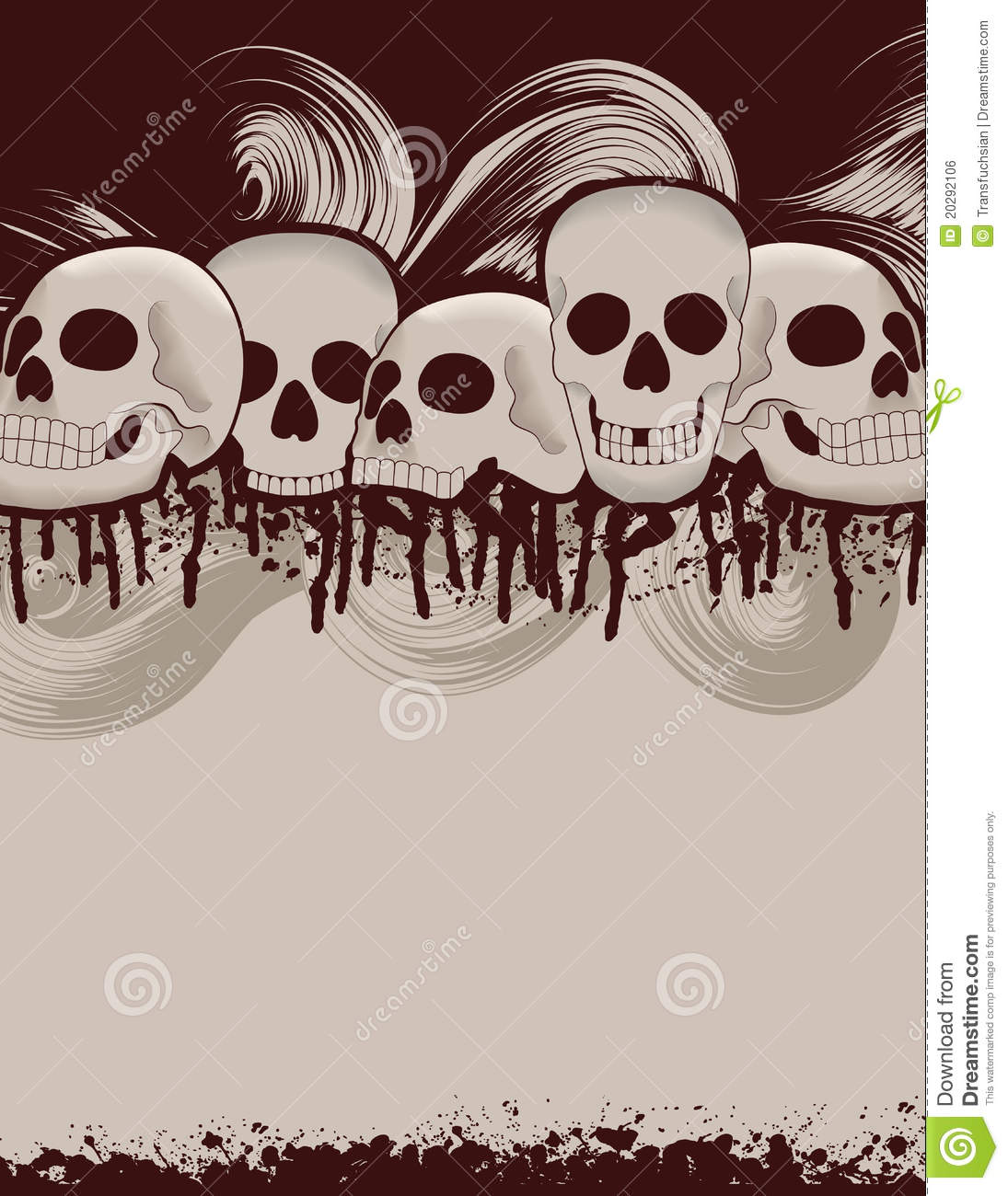 halloween skull and dripping blood background stock vector