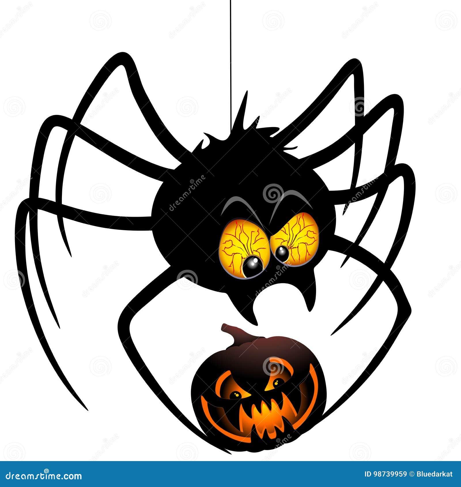 halloween spider cartoon holding a pumpkin stock vector image