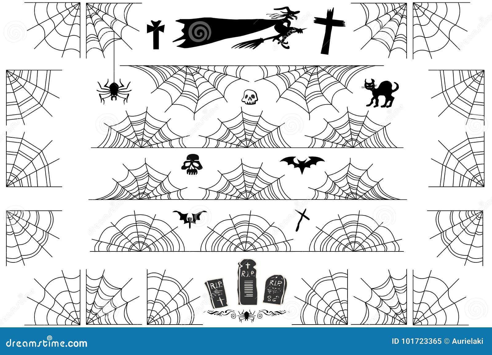 halloween spiderweb vector borders and corners frame stock vector
