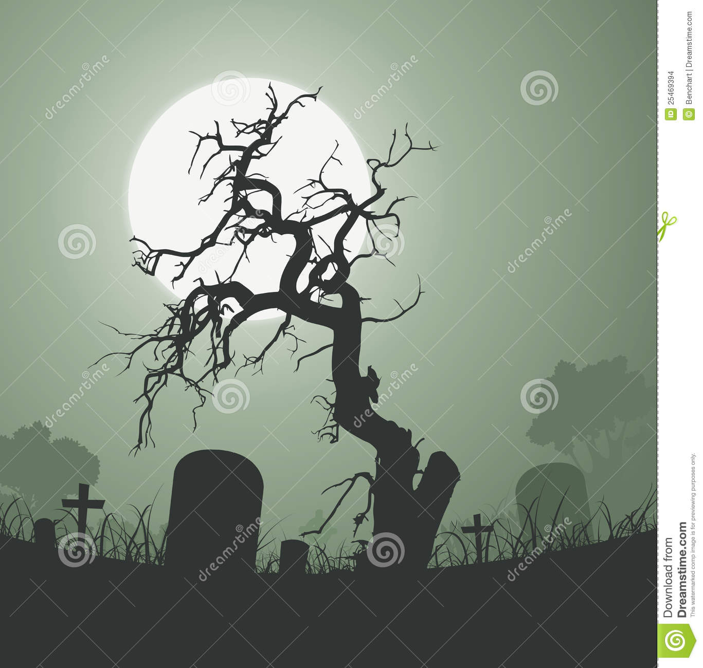 Scary Graveyard Background Tree Drawing Name