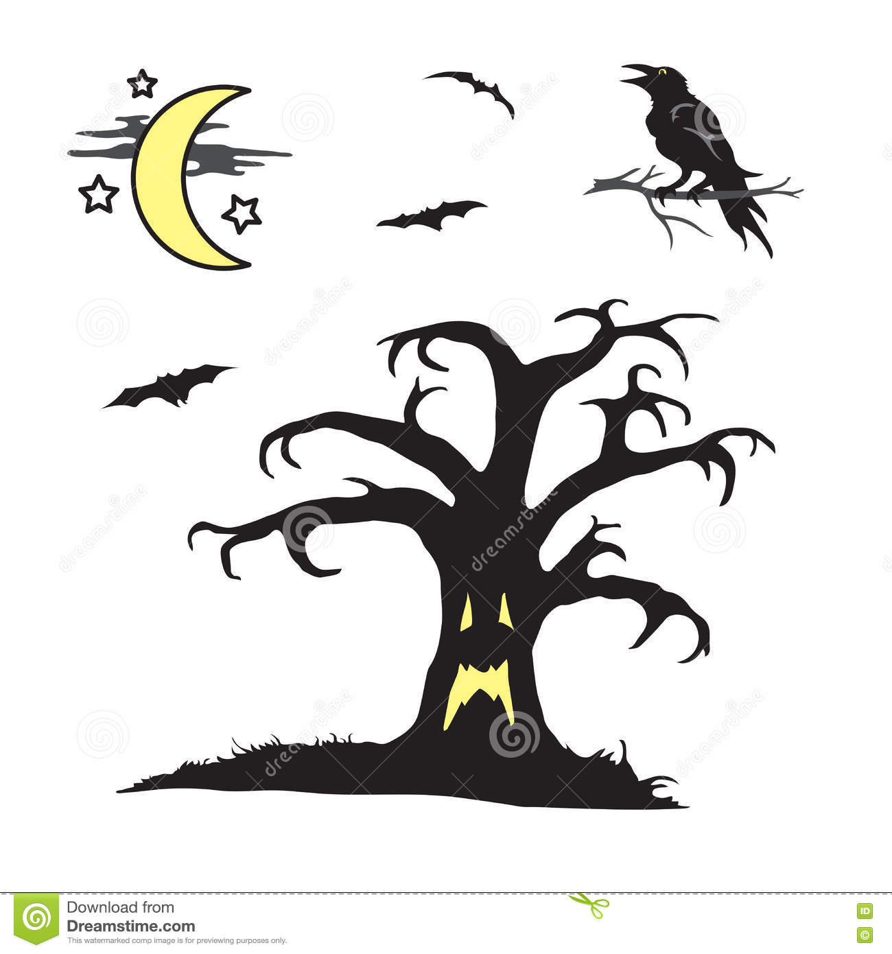 Halloween Spooky Tree Face.Halloween Spooky Tree With Face Scene Stock Vector