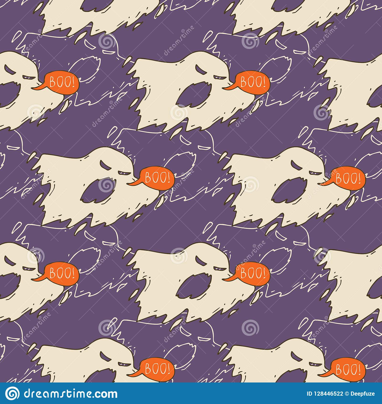 Ghosts Seamless Pattern stock vector  Illustration of face