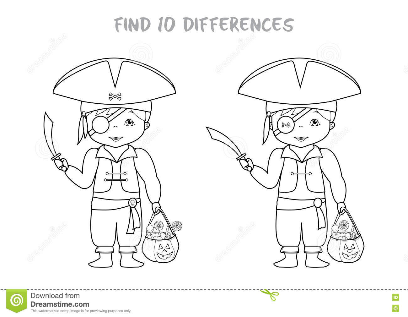 Halloween spot the difference game for kids stock vector image 79157979