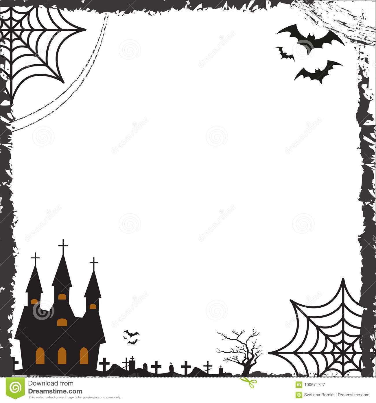 Halloween Square Frame For Text With Cobweb, Bat, Castle ...