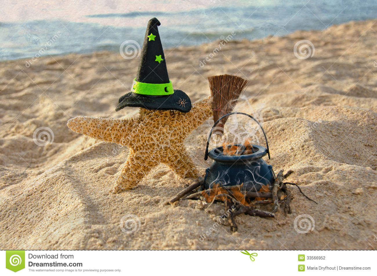 Halloween Starfish With Witch Hat Stock Photography - Image: 33566952