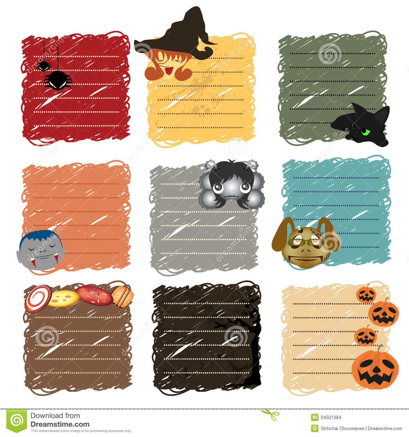 Scrapbook paper and stickers - Halloween Stickers Note