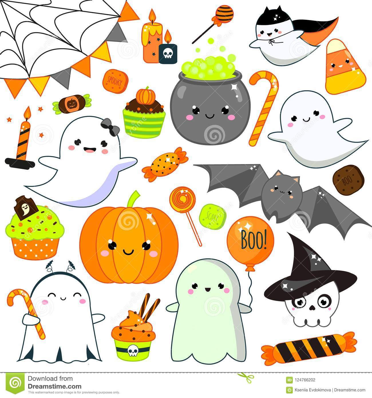 halloween stickers, patches, badges. cute pumpkin, ghosts, bat and